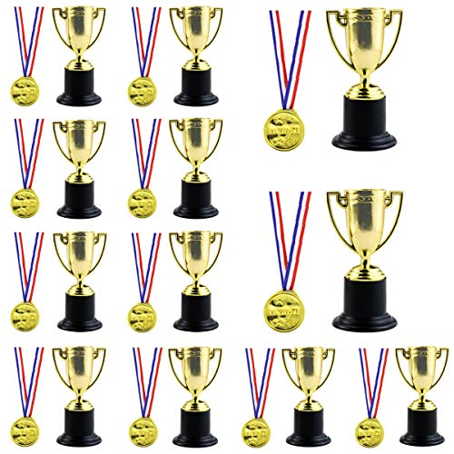 Twdrer 24PCS Mini Trophies and Awards Set,12PCS 4 Inch Gold Plastic Trophy Cup and 12 PCS Shiny Golden Winner Medals for Kids and Adults,Party Favors