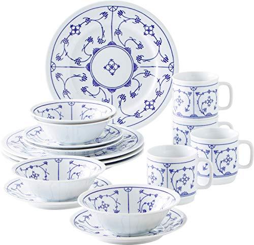 Kahla 16G102O75019H Dinnerware of 4 Blau Saks Porzellan Geschirrset weiß blau Blumenmuster Kombiservice 16-teilig Frühstückset für 4 Personen Snackteller Speiseteller Müslischüssel Kaffeebecher