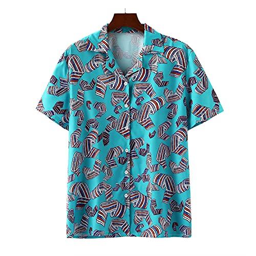 Camisas de ocio de lino algodón para hombre con botones hacia abajo, camisa de ocio Funky hawaiana para hombre de manga corta con impresión 3D informal, botón para vacaciones en la playa Blue B. L