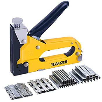 Upholstery Staple Gun Heavy Duty YEAHOME 4-in-1 Stapler Gun with 4000 Staples Manual Brad Nailer Power Adjustment Stapler Gun for Wood Crafts Carpentry Decoration DIY Fathers Day Gifts