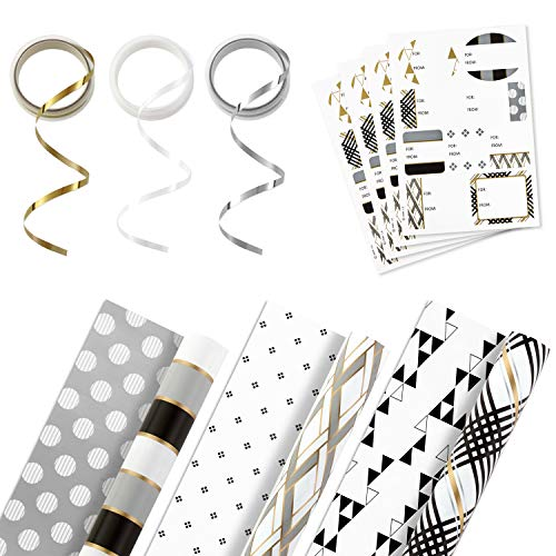 Hallmark Reversible Wrapping Paper Bundle with Ribbon & Gift Tag Stickers - Black, Gold Stripes, Plaid (3 Pack, 120 sq. ft. ttl, 30 Yds. Mini Ribbon, 36 Labels) for Graduations, Weddings, Christmas
