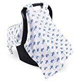 Hudson Baby Unisex Baby Muslin Cotton Car Seat and Stroller Canopy, Blue Whale, One Size