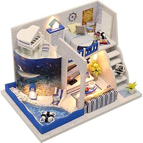PPQQBB Casa de muñecas Miniatura DIY Casa Kit Habitación Creativa con Muebles para el Regalo romántico de San Valentín-Sonido del mar