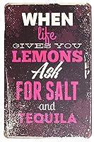 生命があなたを与えるとき、レモンはビンテージプラークウォール装飾を言っている塩とテキーラ金属徴候を求めます