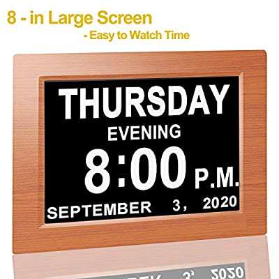 """?Upgraded? Digital Calendar Alarm Day Clock - with 8"""" Large Screen Display, am pm, 5 Alarm, for Extra Large Impaired Vision People, The Aged Seniors, The Dementia, for Desk, Wall Mounted"""