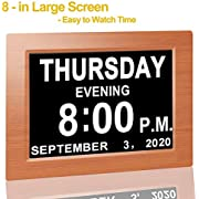 "【Upgraded】 Digital Calendar Alarm Day Clock - with 8"" Large Screen Display, am pm, 5 Alarm, for Extra Large Impaired Vision People, The Aged Seniors, The Dementia, for Desk, Wall Mounted (Brown)"