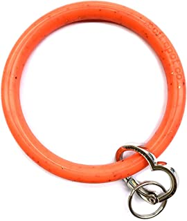 Silicone Bangle Key Ring by Soft Spot Co (Living Coral with Coral Fleck)
