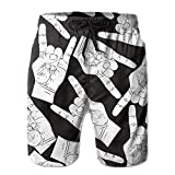 ZR-Go Men's Rock and Roll Gesture Quick-Dry Summer Beach Surfing Board Shorts Swim Trunks Cargo Shorts X-Large
