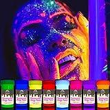 UV Körperfarben Set | Schwarzlicht Bodypainting & Neon Schminke | 8 x 20 ml Leuchtfarben von CRAFT