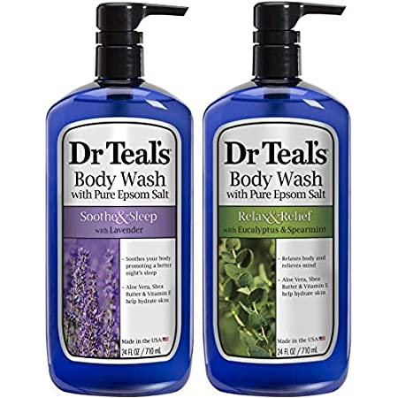 Dr Teal's Body Wash Combo Pack (48 fl oz Total), Soothe & Sleep with Lavender, and Relax & Relief with Eucalyptus & Spearmint