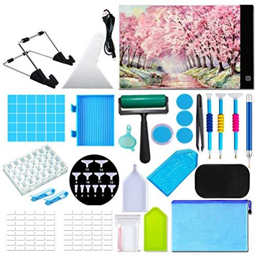 Kit de almohadilla de luz para pintura de diamante ultrafina, regulable, A4, caja de luz LED, con diamante de arte, herramienta de pintura de diamante
