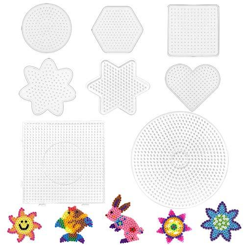 8 Stücke Bügelperlen Steckplatte,Perlenplatte quadratisch,Bügelperlen Stiftplatten Set,transparente Steckplatten,Bügelperlen Stiftplatte Transparent,Steckplatten Set