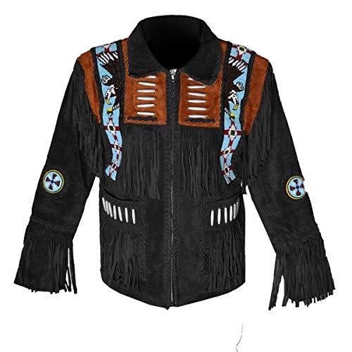 HLS Western Cowboy Eagle - Chaqueta de Piel con Flecos D6 XXS-5XL para Hombre, Color marrón, Rojo, Azul y Negro Marrón y Negro. X-Small