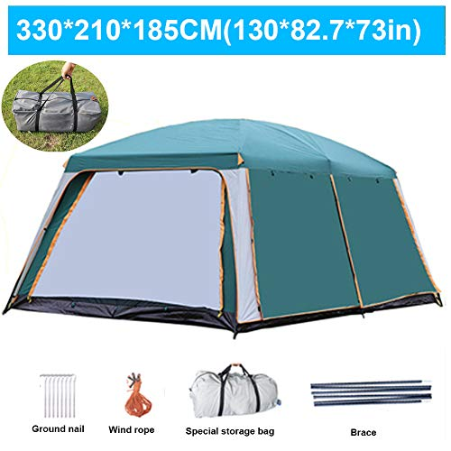 ZYQDRZ Outdoor Camping Tent, Family Camping Large 5-8 Person Tent, Two In One, Used For Beach Picnic Portable And Waterproof, With Carrying Bag, Ventilated And Durable,Bronze,330 * 210 * 185CM