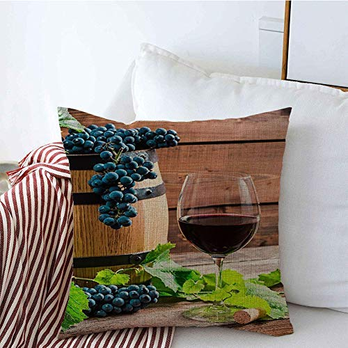 Fundas decorativas para almohadas, cesta, heno de madera roja, fruta sin embotellar, uvas, barril, cera, vidrio, espacio, mimbre, vino, comida, bebida Funda de Cojine 45 X 45CM