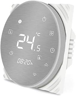 MOES Termostato inteligente Controlador de temperatura WiFi Panel cepillado de metal Smart Life/Tuya APP Control remoto pa...