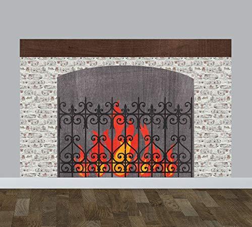 Open haard muursticker herbruikbare aquarel stof muurstickers