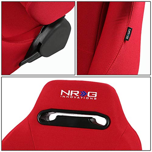 NRG RSC-200-NRG Type-R Universal Racing Seats With Red Stich /& NRG Logo Set of 2 Red