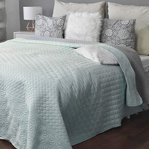 HOMELEVEL Colcha para cama y sofá de manta para sofá o cama, XXL (240 x 260 cm, estampado menta/gris)