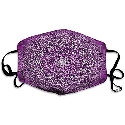 Lila Mandala, rundes tibetisches heilendes Kosmos-Yoga-Wachstumstattoo-Bild, lila und weiß