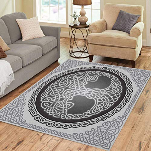 Houlor Area Rug 3' X 5' Soft Non-Slip Carpet Flannelette Fabric Surface Knot Round Celtic Tree Life Border Black White for Living Room Kids Room Home Decor Floor Rugs