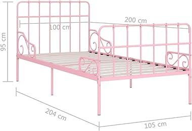 SKM Cadre de Lit et Sommier à Lattes Rose Métal 100 x 200 cm