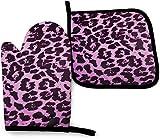 Christmas Camper Flamingo - Juego de manoplas y soportes para ollas para árbol de automóvil,resistente al calor,para cocina,juego de poliéster para cocinar,hornear,asar a la parrilla,estampado de leo