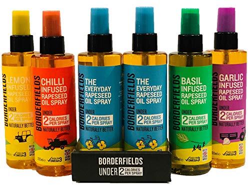 Borderfields Olio di colza Spray Infusions Retail Pack – Confezione da 6 spray (6 x 200 ml Sprays) – tutti i giorni, aglio, peperoncino, basilico e limone