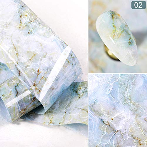 WJPIAALO Autocollants pour ongles Marbre Série Nail Foil Rose Bleu Nail Art Transfert Autocollant Conseils Conseils Stickers Nail Art Autocollants