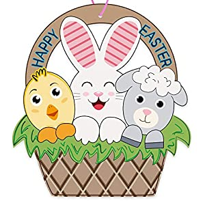 WOODEN MATERIALS:Easter Basket shape door wreath is made of wooden material, thicker but easy to carry, hang and store.Just hanging on the outside of the door to welcome friends to join your Easter party. LAST LONG TIME:Easter sheep bunny chick decor...
