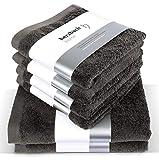 herzbach home Handtuch Set Premium Qualität aus 100% Baumwolle 4 Handtücher 50x100 cm 2 Duschtücher 70 x 140 cm (dunkelgrau)