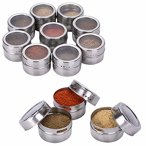 Kingmate 12 Stück (Primärfarbe) Gewürzdosen Magnetisch Edelstahl Gewürze Spice Jars, 96 Gewürzetiketten & 24 Blankoetiketten, Gewürzregal Gewürzdosen Set Glas Magnetisch Gewürz Spice Box