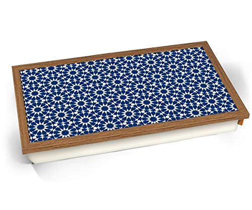 KICO Blue Moroccan Style Print Pattern 11 Cushioned Lap tray Breakfast Bed Lap Tray Desk - Wood Effect Frame