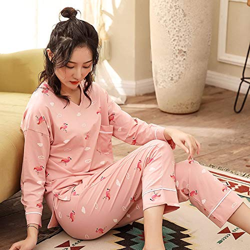 ASDWA Damen Zweiteiliger Schlafanzug,Damen Langarm Tops Und Hosen Pjs Set Pink...