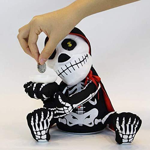 Gwill Halloween Elektrische Vampir Schädel Weichem Plüsch Geld Bank Gepolsterte Puppe, kann singen und Tanzen Zombie Münze Bank Puppe Plüsch Schädel Geist Halloween Party Lustige Spielzeug