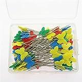 Bonarty Multi-Color de Cabeza Plana de Confección de Alfileres Rectos en Forma de Mariposa para Coser Bricolaje 100 Piezas