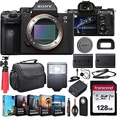 Sony Alpha a7 III Mirrorless Digital Camera (ILCE7M3/B) Body Kit with Extra Battery + Flash + 128GB U3 V30 Memory Accessory Bundle from Cardinal Camera - Sony