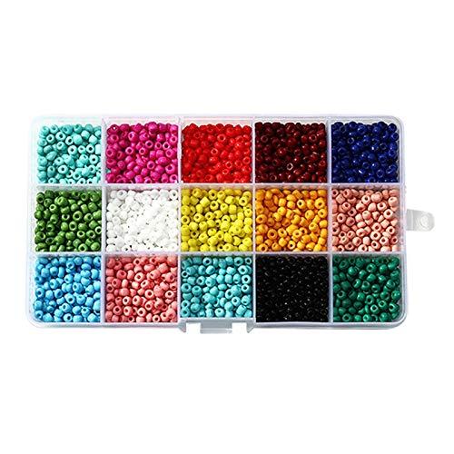 TOOGOO Cuentas de Semillas de Vidrio Multicolor de 3 Mm para Pulseras de Bricolaje, Collares, Llaveros y Joya para Ni?Os, Color SóLido
