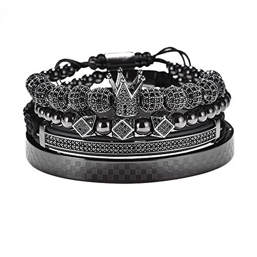 Conjunto de pulsera trenzado ajustable pulsera hombres hombres cuentas corona negro circón encanto acero inoxidable pulsera hombres joyería