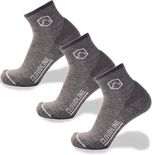 CloudLine Merino Wool Athletic 1/4 Crew Ultra Light Running Socks - 3 PACK - for Men & Women