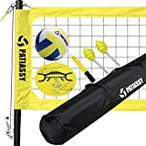 Patiassy Portable Volleyball Net Set Outdoor Volleyball Nets for Backyard Beach with Height Adjustable Poles, Winch System, Volleyball with Pump and Carrying Bag, Yellow