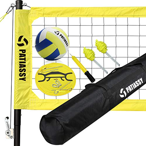 Patiassy Professional Portable Volleyball Net and Ball Set System for Outdoor Beach, Backyard with Storage Bag, Upgraded Adjustable Poles, Winch System for Anti Sag Net and Metal Stakes