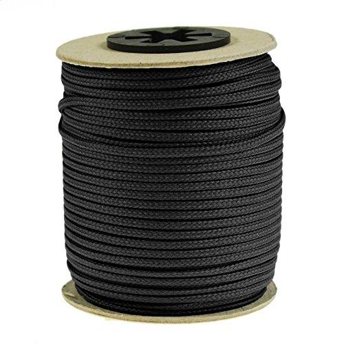 50 Meter Polyesterschnur Flechtschnur 2mm, 8-fach geflochten, Kumihimo Flechten, 30 Farben, Farbe:schwarz