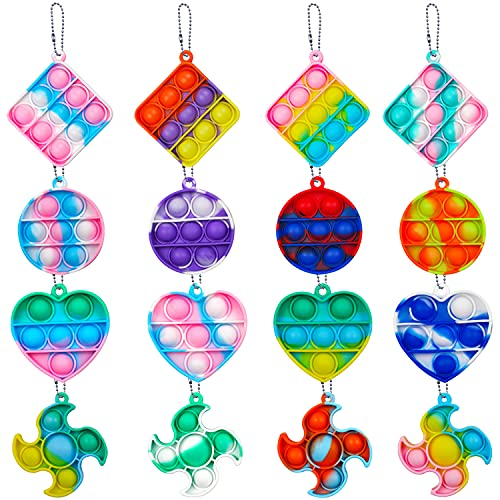 16 Pack Mini Push Pop Bubble Fidget Sensory Toy, Mini Keychain, Office Desk Toy, Stress Reliever Anti-Anxiety, Special Needs for Autism ADHD, Tie Dye Style ( Heart + Round + Square + Darts )