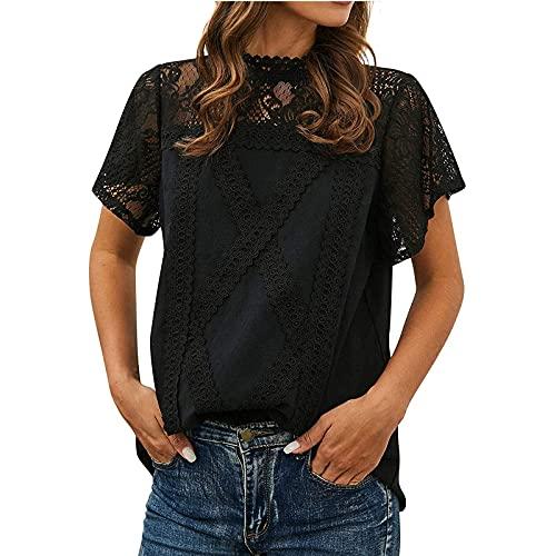 XOXSION Camiseta de verano para mujer, con cuello redondo, manga corta, túnica, bonita, de encaje, parte superior Negro S