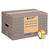 packer PRO Pack 20 Cajas Carton para Mudanzas y Almacenaje 440x300x250mm Ultra Resistentes con Asas + Cinta Adhesiva, 100% ECO Box