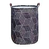 Tsingree Collapsible Laundry Hamper, Round Cotton Linen Laundry Basket, Large Storage Bin for Nursery Hamper and Kids Room (Black)