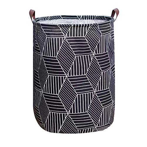 Tsingree Collapsible Laundry Basket, Round Cotton Linen Laundry Hamper, Large Storage Bin for Nursery Hamper and Kids Room (Black Geometry)