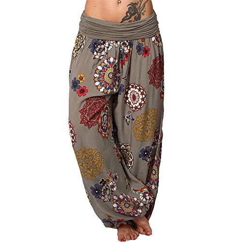 Onsoyours Mujer Pantalones Hippies Tailandeses Estampado Verano Cintura Alta Elastica para Baggy Yoga Casual Bombacho clásico Design Boyfriend Harem Pantalón C Caqui x-Large