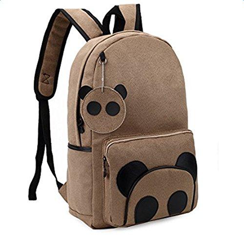 Hosaire Backpack Fahrradrucksäcke Karikatur Panda Muster Leder Schüler Rucksack für Einkaufen,Schule,Outdoor Camping
